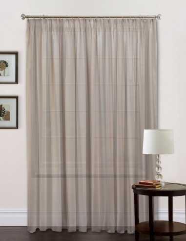 Έτοιμη ραμμένη κουρτίνα με τρέσα (300x280) - Βουάλ μονόχρωμη γκρι-καφέ ημιδιάφανη