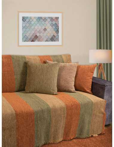 Ριχτάρι ζακάρ λαδί- χρυσό- πορτοκαλί Elite Home Premium Collection - 2 Όψεων 4 διαστάσεις