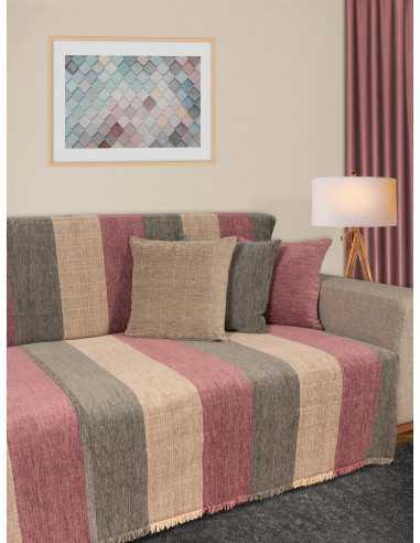 Ριχτάρι ριγέ γκρι/λιλά/εκρού Elite Home Premium Collection - 2 Όψεων, 4 διαστάσεις