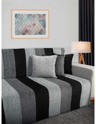 Ριχτάρι ριγέ μαύρο/γκρι/ανθρακί Elite Home Premium Collection - 2 Όψεων, 4 διαστάσεις