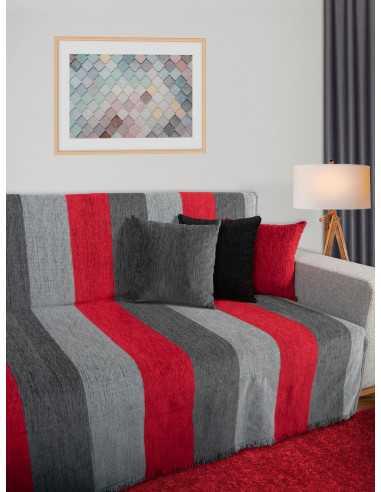 Ριχτάρι ριγέ κόκκινο/γκρι/ανθρακί Elite Home Premium Collection - 2 Όψεων, 4 διαστάσεις