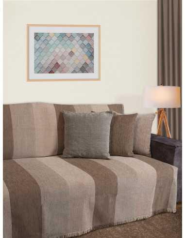 Ριχτάρι ριγέ μπεζ/μόκα/εκρού Elite Home Premium Collection - 2 Όψεων, 4 διαστάσεις