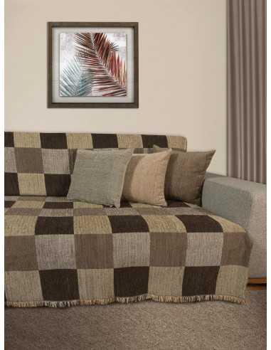 Ριχτάρι καρό καφέ/μόκα/μπεζ/ώχρα Elite Home Premium Collection - 2 Όψεων, 4 διαστάσεις