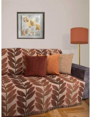 Ριχτάρι ζακάρ ντεγκραντέ κεραμιδί- καφέ - μπεζ Elite Home Premium Collection - 2 Όψεων 4 Διαστάσεις