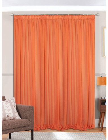 Έτοιμη ραμμένη κουρτίνα με τρέσα (300x280)- Γάζα μονόχρωμη πορτοκαλί ημιδιάφανη