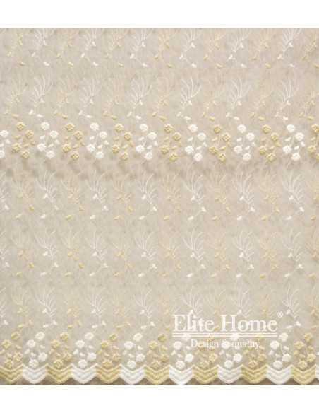 Έτοιμη ραμμένη κουρτίνα με τρέσα - Δαντέλα κεντημένη διάφανη